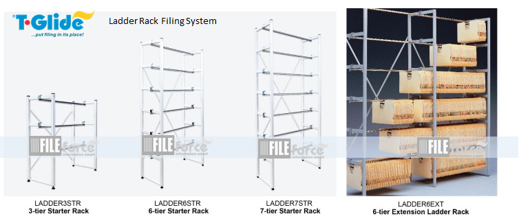 multi-tiers height and width adjustable T-Glide ladder racks