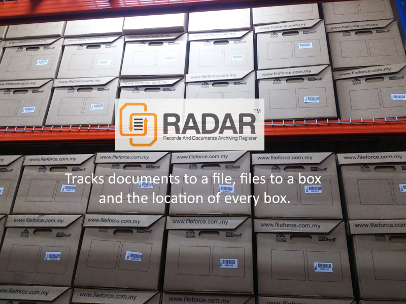 RADAR tracks documents to a file, files to a box and the location of every box..pdn 800